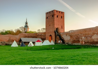 Tents setup in courtyard of Remains of the Mazovian Duke Castle in Czersk (Poland)
