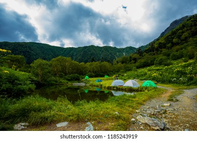 Tents at Shirane Oike Pond, Japan