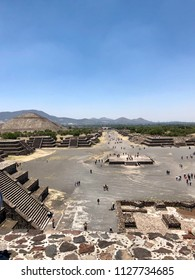 TEOTIHACAN, MEXICO - May 28, 2018: View on the Pyramid of the Sun and Avenue of the Dead - part of the Aztec pyramids complex.