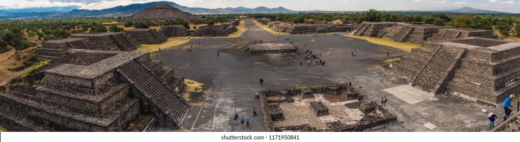 Teotihuacan, Mexico -3 November, 2016: Pyramid of the Sun and the road of death in Teotihuacan, Mexico