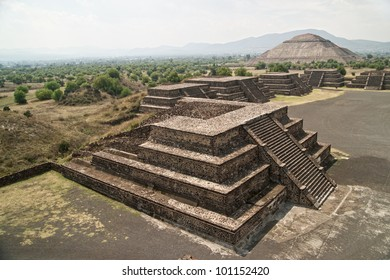Teotihuacan. Ruined pyramid temples are now a major archaeological and tourism site near Mexico City DF