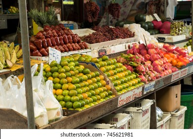 Teparak,Samut Prakan,Thailand-October 30.2017:Many kinds of fruit are arranged in an orderly and beautiful in fresh food market.