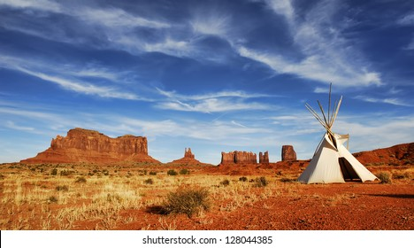 Tepee on desert floor in Monument Valley on the Arizona and Utah border.