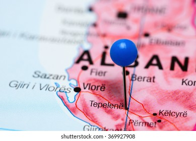 Tepelena pinned on a map of Albania