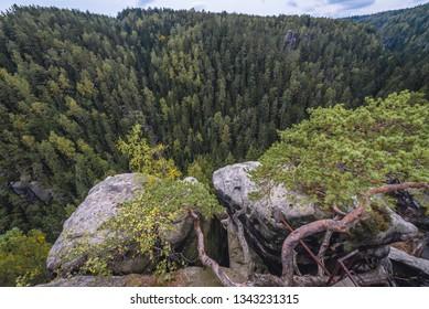 Teplice Rocks, part of Adrspach-Teplice landscape park in Czech Republic, view from Strmen Castle ruins