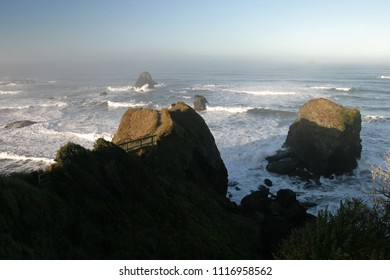 Tepona Point and offshore rocks, Luffenholtz Beach County Park, Humboldt County, California, USA