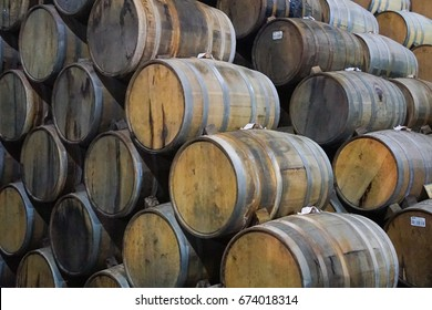 Tequila Barrels Waiting To Be Read - Stacked, Oak