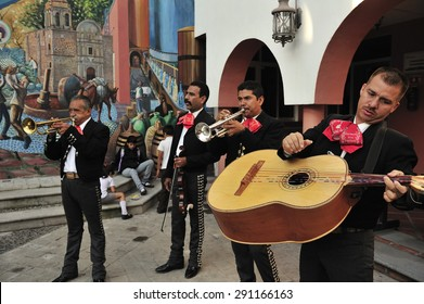 Tequila, Jalisco, Mexico  October.10. 2013: Mariachi, folk music musician , cultural icon of Mexico, town of Tequila, Jalisco, Mexico