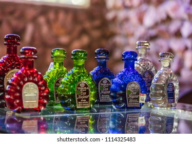 TEQUILA, MEXICO - January 1 2016 - Sortiment of sprists in a distillery near of Santiago de Tequila.There is lot of visitor-friendly distillery tastings and tours in Jalisco.