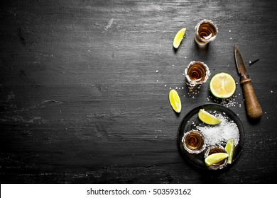 Tequila with salt and lime. On the chalkboard.