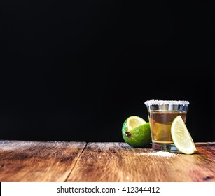 Tequila shot with lime slice with free text space.