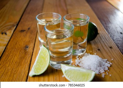 Tequila shots with lime salt