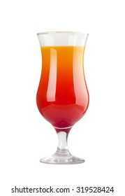 tequila sunrise cocktail in hurricane glass isolated