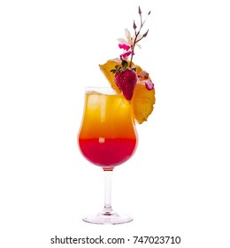 Tequila sunrise Cocktail isolated on a white background.