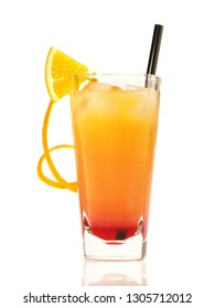 Tequila Sunrise Cocktail on white Background