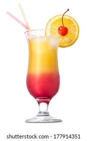 Tequila sunrise cocktail on white background.