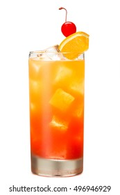 Tequila Sunrise Cocktail on White