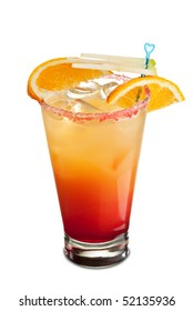 Tequila Sunrise Cocktail - Tequila, Orange Juice and Grenadine Syrup and Soda Water