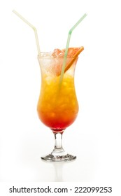 Tequila Sunrise cocktail over white background