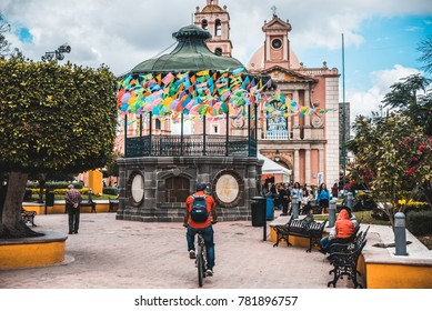 Tequisquiapan, Queretaro, Mexico - November 19, 2017: main square of Tequisquiapan