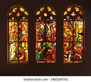 Ter Apel. July-21-2019. Stained glass windows in the Cloister ter Apel. The Netherlands