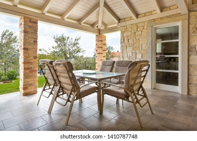 Teracce of summer villa with table and chairs