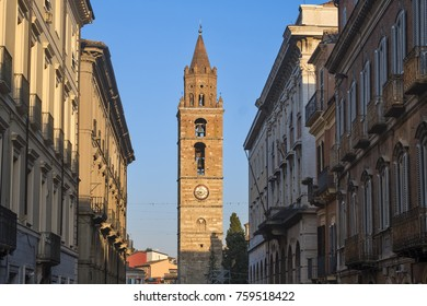 Teramo /Abruzzi, Italy): the main street of the city with the belfry of the cathedral