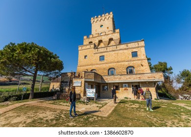 Teramo, Italy. March 3, 2019: Ancient Tower of Cerrano in Italy. The Tower of Cerrano is one of the ancient coastal towers of the Kingdom of Naples. Construction of the sixteenth century,