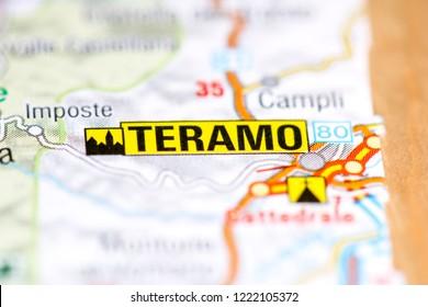 Teramo. Italy on a map