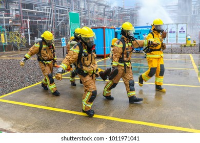 TERENGGANU, 10 JANUARY 2018 - Fire fighters were rescuing an injured personnel with a stretcher.
