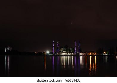 Terengganu, Malaysia - 17th november 2017 : a beautiful landscape of mosque on night