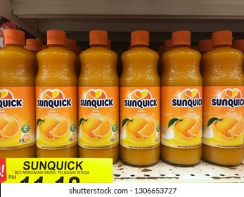TERENGGANU, MALAYSIA - 5 February 2019 : View of various brand Sunquick on the shelves at hypermarket.