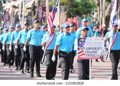 Terengganu, Malaysia - August 31, 2016: Malaysians participate in National Day and Malaysia Day parade, celebrating the 59th anniversary of independence on August 31, 2016 in  Kuala Terengganu, Malays