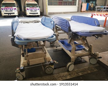 TERENGGANU, MALAYSIA - FEBRUARY 10, 2021: Emergency bed standby for patient at Emergency Department HSNZ