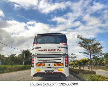 Terengganu, Malaysia - February 2019: One of the Konsortium Transnasional Berhad (KTB) bus, Malaysia's amongst leading transportation company spotted on the road.