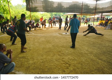 TERENGGANU, MALAYSIA, JULLY 21 2019 : Asian culture, Top Spinning or Gasing is a well-known traditional game played by Malays in Terengganu and Kelantan.
