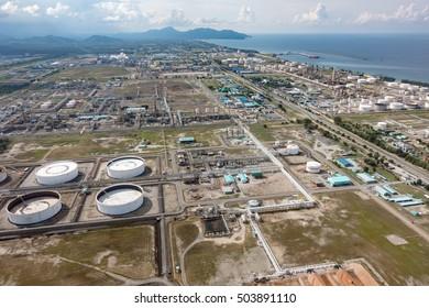 TERENGGANU, MALAYSIA - July 20, 2016 - Aerial view of Terengganu Crude Oil Terminal under Petronas Penapisan Sdn Bhd and Kerteh coastlne.