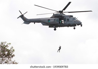 TERENGGANU, MALAYSIA June 16, 2017 : Search and rescue (SAR) by Eurocopter EC725 Cougar hovering over the spot where a missing Royal Malaysian Air Force (RMAF), Hawk 108 fighter jet has crashed.