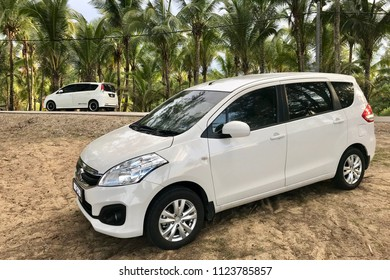 Terengganu, Malaysia, June 29, 2018 - Malaysian latest compact MPV, Proton Ertiga, was parked at the beach. Proton Ertiga is rebadged from Suzuki Ertiga which a popular model in Indonesia and India.