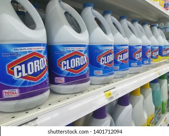 Terengganu, Malaysia - May 15, 2019 : Variety of bleach product for laundry on supermarket shelf