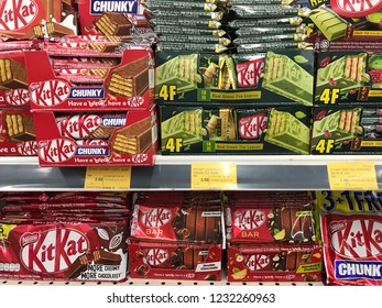 TERENGGANU, MALAYSIA - Nov 16, 2018 : Product of Nestle, different flavor of Kit Kat wafer fingers in milk chocolate on display for sale in supermarket.