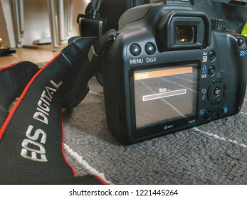Terengganu, Malaysia - October, 2018: Canon 1000D screen monitor showing Busy status. It was one of the entry level DSLR camera from Canon.