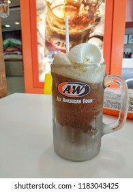Terengganu, Malaysia - September, 2018 : The famous Root Beer floats served at A&W Restaurants.