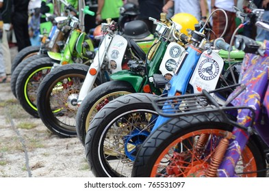 Terengganu, Malaysia - September 29, 2017 : A few modified motorcycle for autoshow at Fastaqim 2.0 event. Selective focus.