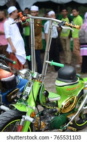 Terengganu, Malaysia - September 29, 2017 : A parts of green street cub for autoshow.