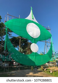Terengganu, Malaysia-April 29, 2018 : Large traditional kite built by a local political party members. Malaysia 14th general election will be held on May 9, 2018.