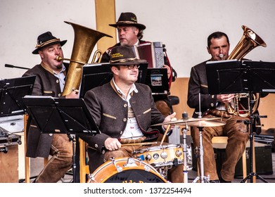 Terento, Italy - 10 October 2011: South Tyrolean musicians group band, Hochwilde Böhmische, perform live