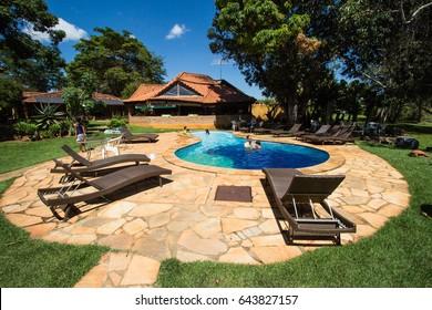 TERESOPOLIS, BRAZIL - APRIL 13, 2017: Brazilian people have fun at farm hotel on April, 2017, Terezopolis, Brazil.