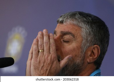 TERESOPOLIS, BRAZIL - JULY 05, 2014: Jose Luiz Runco doctor of the Brazil National Team talks about Neymar's injury during a press conference at the Granja Comary training center. NO USE IN BRAZIL.