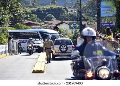 TERESOPOLIS, BRAZIL - JUNE 30: Brazilian team arrives in Granja Comary during the FIFA World Cup 2014 on June 30, 2014 in Brazil. No use in Brazil. VIPCOMM/ Gaspar Nobrega